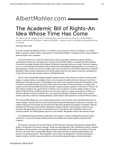 academic bill of rights Over 200 years after the ratification of the us constitution, some conservative activists are calling for a new bill of rights to guarantee academic freedom the.